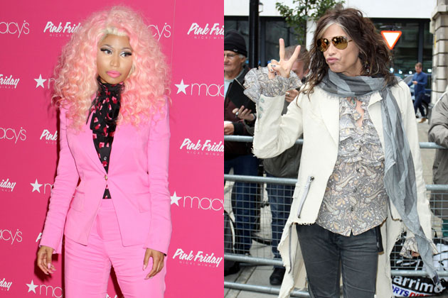 Nicki Minaj (left) and Steven Tyler (right).