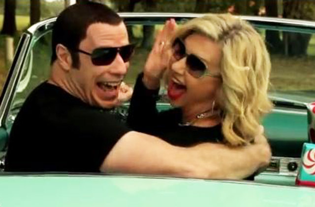Cheese is the word: Olivia Newton-John and John Travolta line dance and re-enact <i>Grease</i> in crazy clip