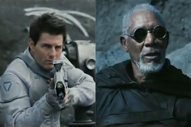 Tom Cruise and Morgan Freeman in Oblivion.