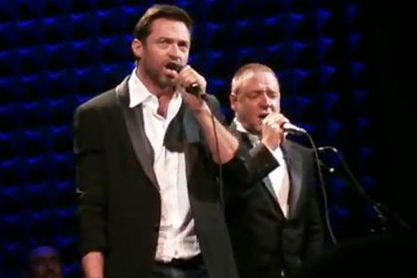 Watch: Russell Crowe and Hugh Jackman's pub karaoke battle