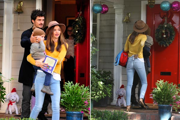 Miranda Kerr and Orlando Bloom play happy families, Miranda gives herself wedgie
