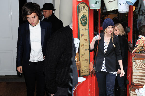 Harry Styles leaving a nightclub / Taylor Swift vintage shopping at London's Portabello Road