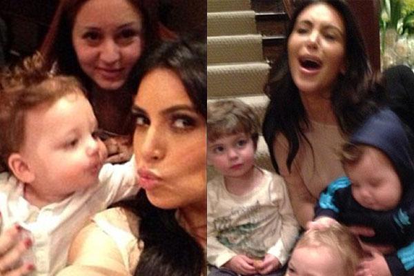 'Help!': Kim Kardashian practises parenting
