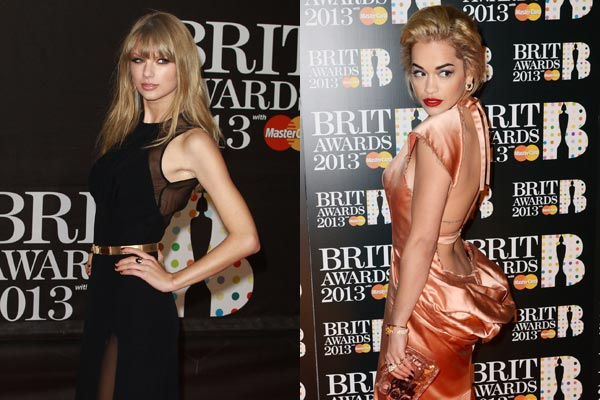 2013 Brit Awards red carpet: Taylor Swift and Harry Styles play 'dodge the ex', stars wear bizarre scrunchy-bum dresses