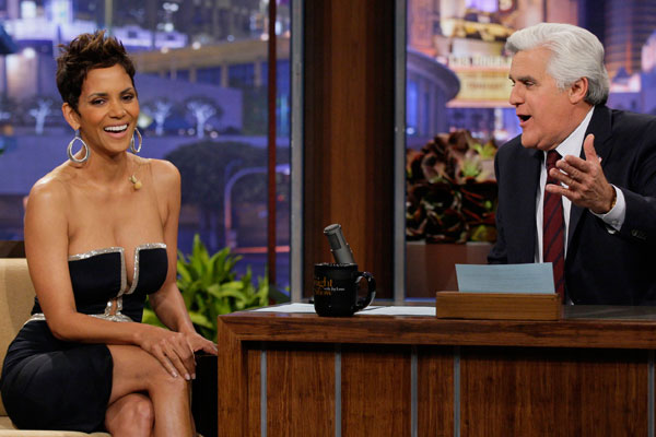 Watch: Halle Berry dodges flirty Jay Leno in daring dress
