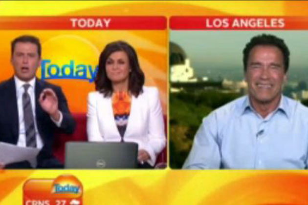 Watch: Karl Stefanovic impersonates Arnold Schwarzenegger to his face on Today Show