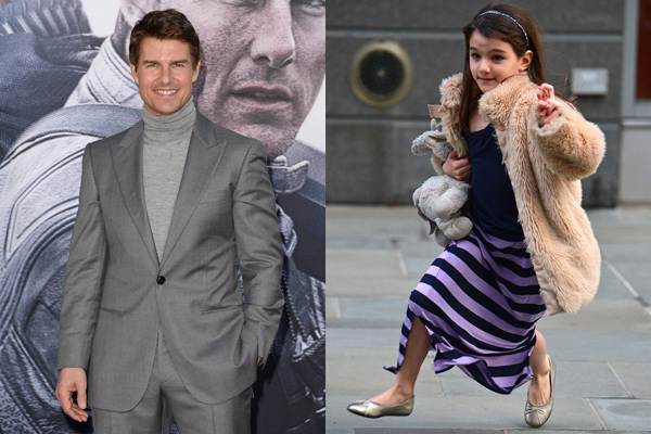 Tom Cruise at the premiere of <i>Oblivion</i> in Hollywood. / Suri Cruise on the streets of New York City.