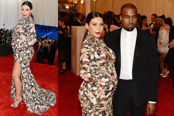 Kim Kardashian S Fl Turtleneck Dress At The Met Gala 9celebrity