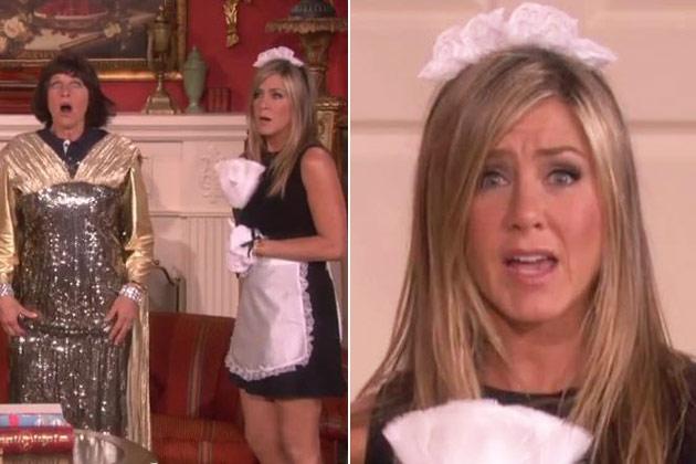 Watch: Jennifer Aniston turns sexy French maid, reunites with <i>Friends</i> co-stars on <i>Ellen</i>!