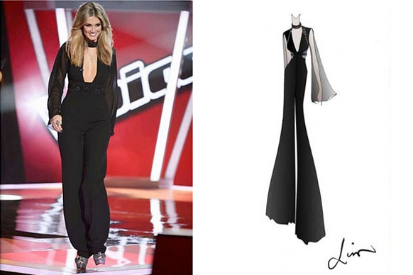 "Gabe says: ""This was a one off custom made Liso Ho jumpsuit. Check out the concept as it was in the sketch development stages!""<br/><br/>(Images: Channel Nine / Lisa Ho)"