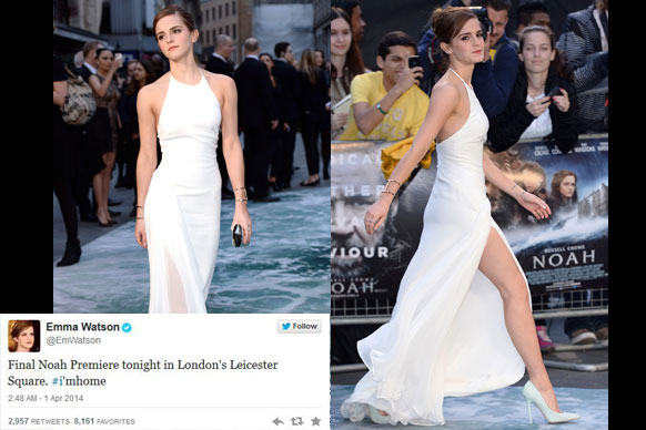 "Russell Crowe, Jennifer Connelly and Emma Watson walked the ocean-themed red carpet for the London <i>Noah</i> premiere. Emma looked stunning in a white floor-length Ralph Lauren gown, with a very risky thigh-high split. While Russell walked arm in arm with buddy Hugh Jackman. We had no idea they were BFFs!<br/><br/>Check out all the snaps from the glam event, including Russell's snazzy helicopter arrival to the next premiere in Paris...<br/><br/>(<i>Author: <b><a target=""_blank"" href=""https://twitter.com/yazberries"">Yasmin Vought</a></b></i>)"