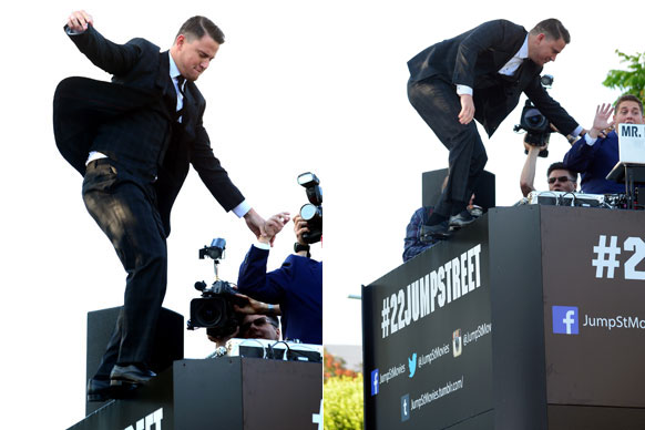 "Channing Tatum showed off his hidden stunt skills at the LA premiere of his new buddy cop comedy <i>22 Jump Street</i>!<br/><br/>Well, sort of! Lucky his co-star Jonah Hill was there to save him from falling into the crowd of screaming fans below. Scroll through to see all the cheeky red carpet snaps from the star-studded event.<br/><br/><i>22 Jump Street</i> hits Aussie cinemas on June 19, 2014.<br/><br/>(<i>Written by <b><a target=""_blank"" href=""https://twitter.com/yazberries"">Yasmin Vought</a></b>. Approved by Amy Nelmes.</i>)"