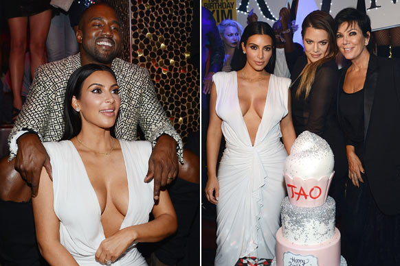 It's her party and she'll flash as much cleavage as she wants to!<br/><br/>Birthday girl Kim Kardashian had all eyes on her (what's new?) in a plunging white dress for her celebrations at TAO nightclub in Las Vegas.<br/><br/>To celebrate her 34th birthday, Mrs Kanye West partied with her touchy-feely hubby and a tight-knit group of friends and family.<br/><br/>So what went down? Check out all the pics from the big night...<br/><br/>Images: Getty<br/>