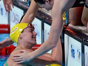 Alicia Coutts reacts after narrowly missing a gold medal at the world championships. (AAP)