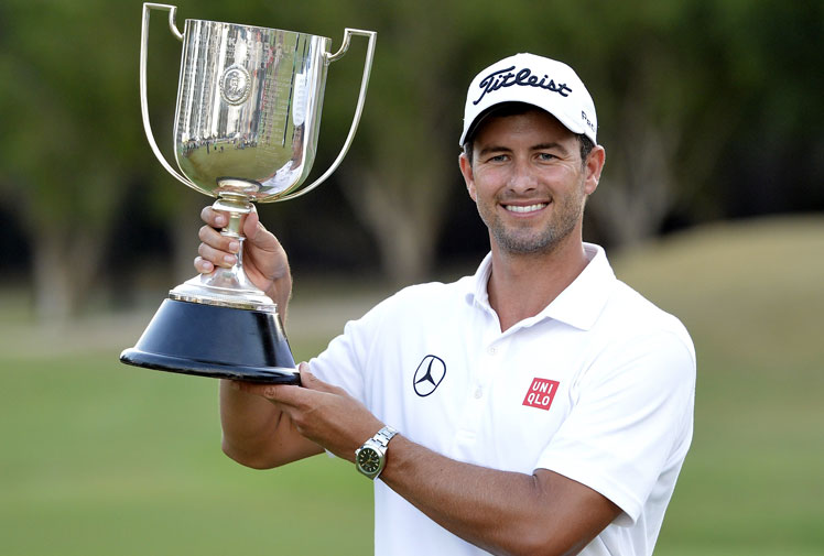 <b>Adam Scott completed just the sixth career Triple Crown in Australian golf after winning the Australian PGA Championship on the Gold Coast.</b><br/><br/>The US Masters champion showed all of his class after a weather delay, making an eagle and two birdies to win by four shots.<br/><br/>His victory, along with his Australian Masters crown and Australian Open title, means he joins Greg Norman, Peter Senior, Craig Parry, Robert Allenby and Peter Lonard as winners of all three domestic majors in their career. (Getty Images)