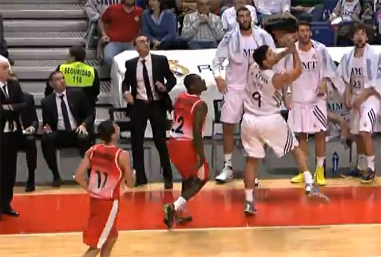 <b>Beating the basketball buzzer with a last-second shot is tough and always thrilling, but when the player is falling off court as he does it, it's incredible.</b><br/><br/>With the clock ticking down to halftime, Real Madrid's rushed throw-in from the baseline found Filepe Reyes who had to reach over the sideline to gather it in. Off balance and heading out he threw the ball over his shoulder, finding the net and sending the home crowd wild.<br/><br/><i>Wide World of Sports</i> have scoured the archives to find some other great basketball buzzer-beaters.<br/>
