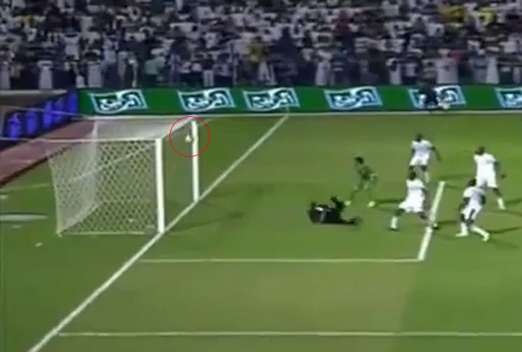 <b>Saudi Arabia have beaten Iraq 2-1 to qualify for the 2014 Asian Cup, but not before luck saved them from conceding a first-half equaliser. </b><br/><br/>Down 1-0, Iraq were awarded a free kick just outside the box. The strike curved and dipped before rebounding off the cross bar with the Saudi goalkeeper beaten.<br/><br/>Iraq attacked again and after a parried save, a bullet like strike bounced off both posts, somehow staying out of the net.<br/><br/>It's not the first time the posts have played a big part in sport.<br/>