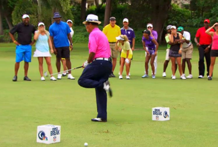 <b>A former Puerto Rican golf professional may have produced the sport's funniest blooper while attempting a stunt in front of fans.</b><br/><br/>Chi Chi Rodriguez was trying to hit a ball through a pane of glass when it ricocheted back at him and rocketed into his groin.<br/><br/>The epic fail is being compared to some of the funniest stunts-gone-wrong which are littered online. As you'll see, many of them just beg the question, why?