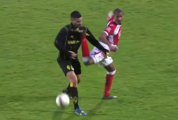 <b>A French footballer was sent off during the latest round of Belgium's Pro League after kicking an opponent in the face with a spectacular attempted back-heel. </b><br/><br/>Footage from the match shows William Vainquer flick his heel back towards the ball and catch Rahid Bourabia in the cheek, with the Lierse player forced to leave the pitch with a bloodied face.<br/><br/>Whether they're accidental or not, here are the nastiest kicks to the face from the sporting world. <br/>