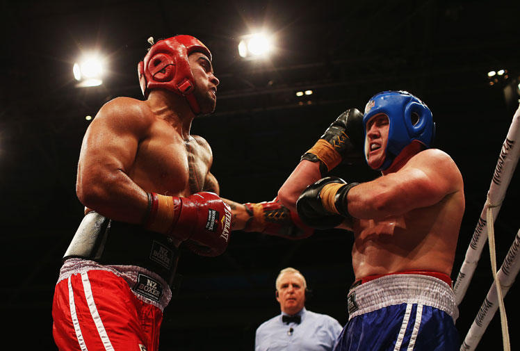 <b>Rugby League stars Paul Gallen and Sam Thaiday have recorded wins over their rugby union opponents in the Fight For Life charity boxing event in New Zealand. </b><br/><br/>The Broncos captain beat Ben Tameifuna by unanimous decision despite giving away 31 kilograms away to the 144kg Chiefs prop.<br/><br/>Cronulla captain Gallen notched his second win in the annual event with a majority points win over All Black Liam Messam.<br/><br/>(All images Getty)<br/>