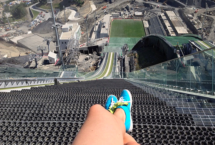 <b>This view from the top of the Sochi Winter Olympics ski jump, taken in summer by redditor olya_samy, shows just how terrifying this winter sport is.</b><br/><br/>The jump has come under fire for its massive $300 million price tag, but spare a thought for the skiers who have to roar down this slope and fly off the end.<br/><br/>As graceful as they seem on TV, not all of these jumps go as planned.<br/><br/>Click through to watch some of the less majestic landings caught on camera.