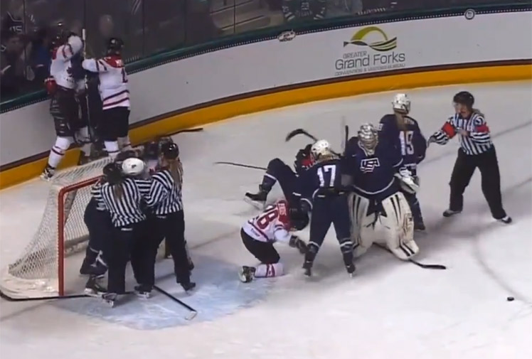 <b>A fierce brawl involving members of the Canadian and US women's ice-hockey team has triggered worldwide headlines, whilst reminding sports fans just how rough women's sport can be.</b><br/><br/>The players were competing in an exhibition match ahead of the Sochi Winter Olympics and gave Games organisers plenty to think about when fists began to fly.<br/><br/>No matter what level of sport, female athletes have proven they can get just as nasty as men when it comes to fighting, as these videos prove.