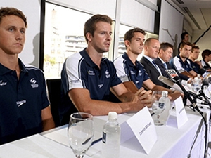 James Magnussen alongside swimming's other so-called 'Stilnox Six'. (Getty)