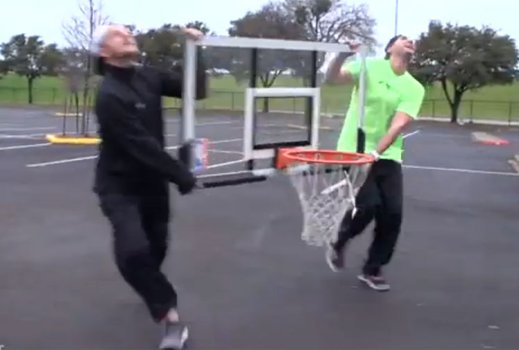 <b>Just when you thought you'd seen it all, some American basketball enthusiasts have added a new dimension to trick shots.</b><br/><br/>Not content in taking aim at regular hoops, they've combined dizzying heights with a moving target to produce a trick shot that has to be seen to be believed.<br/><br/>Their effort started atop the 150 metre high Reunion Tower in Dallas, Texas, and was completed by two agile guys on the ground who were holding the basketball backboard and ring. Trick shots come in all forms...