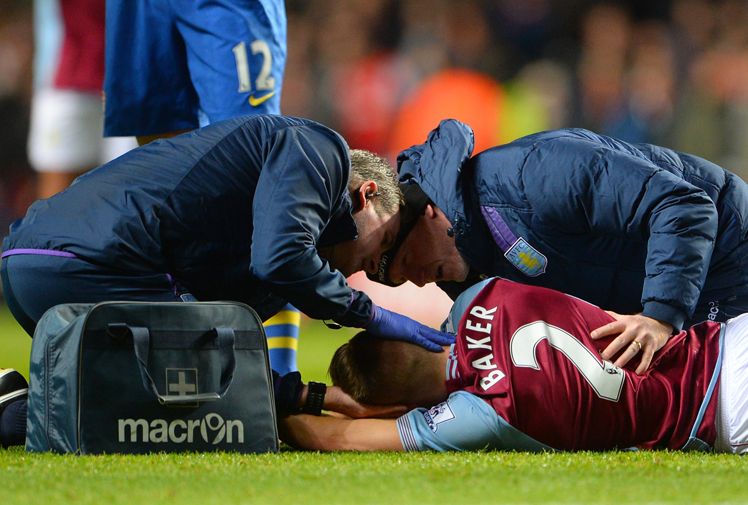 Football is commonly referred to as a beautiful game, but sometimes things turn ugly on the field.<br/><br/>Nathan Baker was knocked out during Aston Villa's match against Arsenal on Tuesday after a ball slammed into his head.<br/><br/>The centre half had to be stretchered from the field.<br/><br/>With rocketing balls and flying boots, it's easy to see how a player can suddenly find themselves in trouble. Watch Baker's hit and other players who have suffered the same fate.