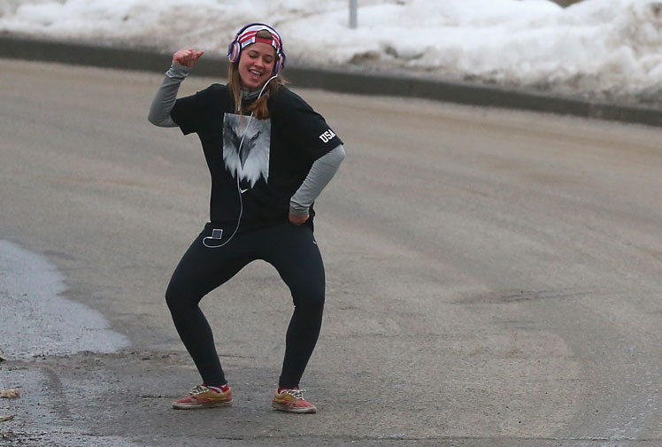 <b>US Olympian Kate Hansen may look like she's partying, but her dance moves are just the way she likes to warm up before tackling the luge in Sochi. </b><br/><br/>Videos and GIFs of the 21-year-old popping and locking before a race, with Beyonce pumping into her ears, have gone viral over the past day. <br/><br/>The sexy routine sparked immediate comparisons to Australia's so-called dancing hurdler, Michelle Jenneke.<br/><br/>Check out the moves on these athletes...