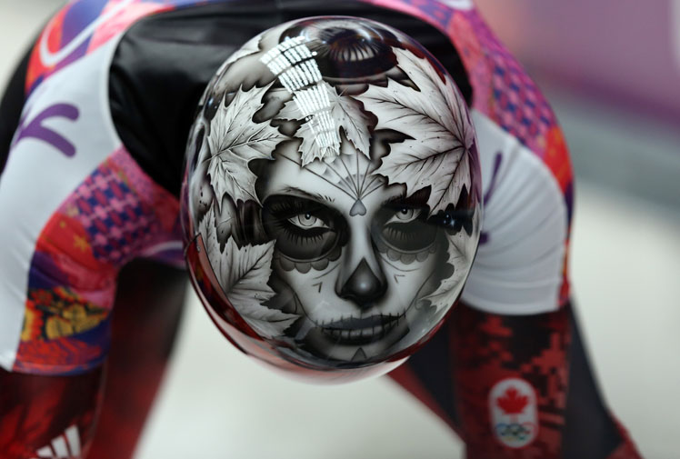 <b>There are many ways to make a statement at the Winter Olympics, but this is easily the most frightening.</b><br/><br/>Canada's skeleton racers came armed for Sochi with helmets that were designed to intimidate and they have truly left an indelible mark.<br/><br/>Among the frightening images that feature on their headgear, the standout is a corpse that belongs to Canadian Sarah Reid. How could you not be scared of this?