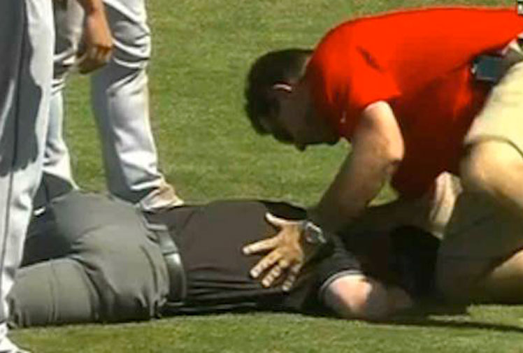 <b>It has been said that umpires and other sports officials have the best view of the game, but this certainly wasn't the case in this incident. </b><br/><br/>An umpire in the MLB pre-season clash between the Cincinnati Reds and the Cleveland Indians had to be helped from the field after being struck in the groin by a fierce line drive.<br/><br/>Click through to see the tear-inducing hit and other incidents that will make you believe that umpires certainly don't have the best seats in the house.<br/><br/>