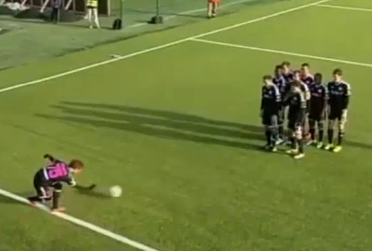 <b>A footballer in the Estonian league has staked his claim for the best goal celebration ever with a brilliantly coordinated routine.</b><br/><br/>Japanese midfielder Hidetoshi Wakui marked his goal for Estonian side Nomme Kalju by pretending to bowl his team-mates over with the ball.<br/><br/>The 31-year-old's 'strike' wasn't enough to win the game for his team, however, with Tallinn rivals Flora hitting back with an injury-time equaliser.<br/><br/>The game will best be remembered for Wakui's hilarious routine, however, which joins a long list of light-hearted goal celebrations by footballers. Click through to see some of our favourites.