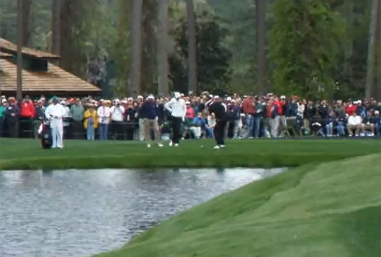 <b>Of all the traditions at The Masters, there is arguably none more famous than a 'skimming' contest that takes place during the practice rounds. </b><br/><br/>Players attempt to skip their ball over a pond that separates the 16th tee and a green that's more than 150 metres away.<br/><br/>While it may seem a rare feat, plenty of players manage to get their balls onto the putting surface and two players have actually scored holes-in-one - Vijay Singh in 2009 and Martin Kaymer in 2012. Just check out these ridiculous shots.