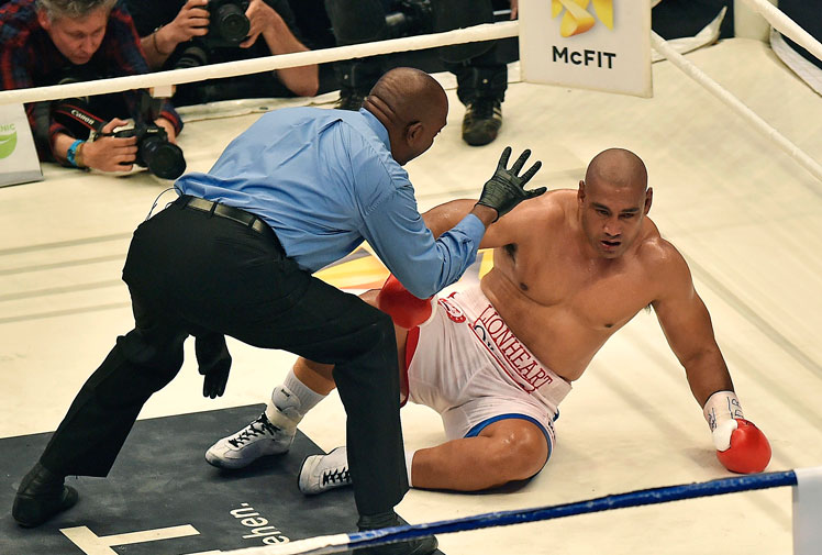 <b>Alex Leapai's brave heavyweight challenge is over after the Australia was knocked out by Wladimar Klitschko in the fifth round of their title fight in Germany. </b><br/><br/>The 34-year-old was vying to become Australia's first universally recognised world heavyweight champion, but struggled to deal with Klitschko's power in the lopsided bout.<br/><br/>The one powerful shot that Lepai landed only seemed to spur Klitschko on to his 20th consecutive win.<br/><br/>Leapai vowed that the defeat was not the end of his career. <br/>