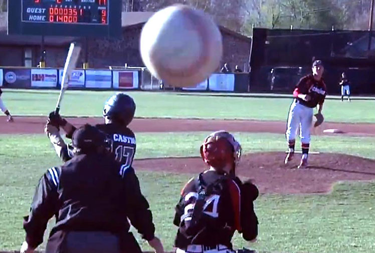<b>A cameraman at a high school baseball game has been left to rue his decision to film from behind home plate. </b><br/><br/>Footage of the match from Arizona shows the batter edge the ball, which flies past the catcher and straight into the lens – causing cracks to appear in the picture.<br/><br/>Click through to see the moments that remind us of the dangers of filming at live sport.<br/>