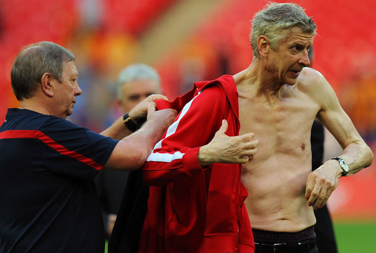 <b>It's fair to say that no-one had more reason to celebrate Arsenal's drought-breaking FA Cup triumph than their long-serving manager, Arsene Wenger. And didn't he do it in style.</b><br/><br/>The 64-year-old became the centre of attention as the Gunners savoured their first trophy in nine years after overcoming a two goal deficit to defeat Hull City 3-2.<br/><br/>Wenger was drowned in beer and champagne, forcing him to strip down and change ahead of the presentations at Wembley Stadium.<br/>
