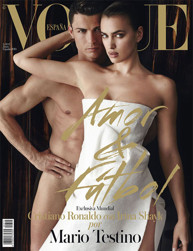 <b>Football superstar Cristiano Ronaldo has left little to the imagination ahead of the World Cup after agreeing to strip-off for a photoshoot with his girlfriend Irina Shayk.</b><br/><br/>Ronaldo, who'll lead Portugal's charge in Brazil, got his gear off for Spain's Vogue magazine and appears on its front cover, standing naked, behind his Russian partner.<br/><br/>Video of the photoshoot shows them in a series of intimate poses, cementing their reputation as football's hottest couple.