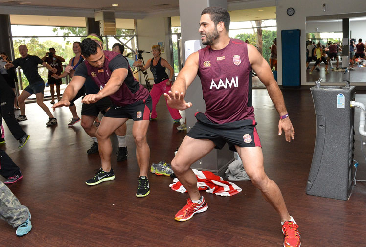 <b>Queensland stars Greg Inglis and Ben Te'o  have shown there's plenty of spring in their step ahead of the Origin opener by gettin' jiggy with fans during a Zumba class.</b><br/><br/>The Maroons pair were attending a gym session on the Gold Coast when they joined a women's Zumba class, shaking and jiving – much to the delight of shocked fans.<br/><br/>The impromptu show - highlighting the Maroons' relaxed build-up - comes in stark contrast to the Blues, who have bunkered down at Coffs Harbour, training in private and even having their sleeping monitored.        <br/>