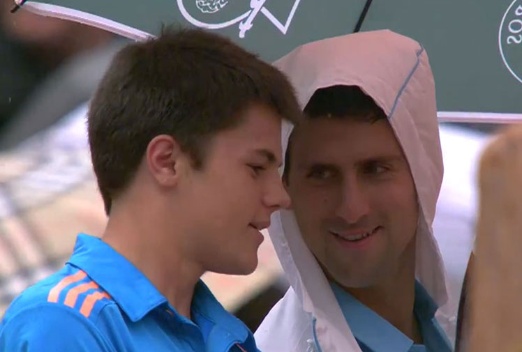 <b>Novak Djokovic was at his laidback best during a rain delay in his first round victory at the French Open. </b><br/><br/>The world number two delighted the Roland Garros crowd by inviting a ball boy to sit under his umbrella and share a drink with him as the rain came down in Paris. <br/><br/>The Serbian has become a fan favourite around the world as much for his sense of fun as his incredible performances on the court.<br/><br/>From his famous impersonations to flirty press conferences, click through to see the moments that have made the Serbian a fan favourite around the world. <br/><br/>