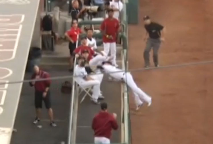 <b>A Minor League baseball player in the States has put his personal well-being on the line to take an epic catch. </b><br/><br/>River Cats third baseman Alden Carrithers refused to give up on the ball as it headed for the stands, stretching over the railings and tumbling head-first into his team's dugout to ensure he claimed the second out.<br/><br/>See where Carrithers' effort stacks up with other remarkable catches taken by baseball's finest...<br/><br/>