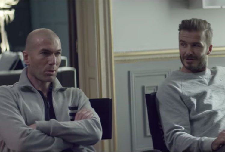 <b>They may be heroes of yesteryear, but David Beckham and Zinedine Zidane still have some serious pulling power when it comes to football.</b><br/><br/>So much so that footwear and apparel giants Adidas decided to couple the greats in a new World Cup commercial that shows them playing a game inside 'Beckingham Palace', against current stars Gareth Bale and Lucas Moura.<br/><br/>It doesn't take long for things to turn messy...<br/>