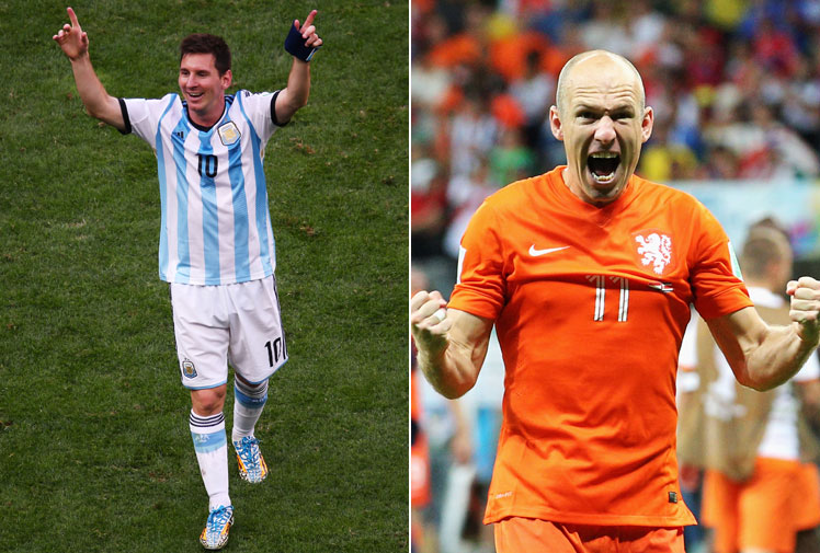 <b>They are the aces in in their rival packs. World football's best dribblers. The men who will decide the fate of Argentina and the Netherlands. </b><br/><br/>When Lionel Messi and Arjen Robben go head-to-head in the World Cup semi-finals, it's highly likely one piece of brilliance from either will decide which nation progresses to the final.<br/><br/>Here are some of their greatest goals at club and national level, highlighting the sublime control, timing and ghosting brilliance of these two superstars.<br/><br/>