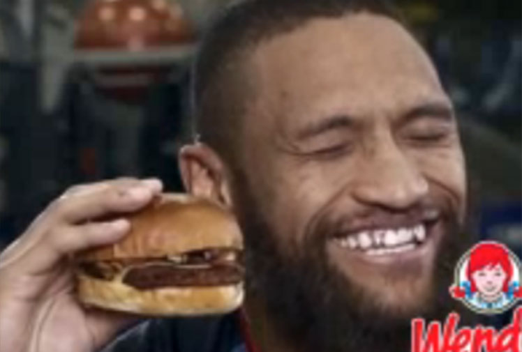 <b> Four NRL stars and a Super Bowl champion have spruiked food products in different and equally hilarious television adverts. </b><br/><br/>The Warriors, including cult heroes Manu Vatuvei and Konrad Hurrell, explain how delicious a new brioche burger is in which they struggle to pronounce the French bun. <br/><br/>While Seattle running back Marshawn Lynch has taken his love for Skittles to new heights, even using the lollies as make-shift weights during a workout.<br/><br/>Click through to watch the ads and other priceless food and drink commercials starring athletes.<br/>