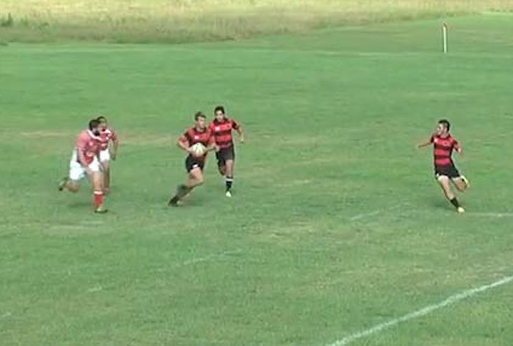 <b>An Arkansas State University rugby player has become an internet sensation after pulling off an incredible flick-pass round-the-back dummy.</b><br/><br/>In the footage, scrumhalf Michael Baska collects the ball, lures in the defence, feints to flick the ball out of his right hand but instead, passes it round his back and into his left hand.<br/><br/>The move, which left fans hollering, set up teammate Joshua Nearman to cross for a try against local rivals, University of Arkansas.  <br/><br/>The American's crazy trick ranks among some of the world's best dummy moves.
