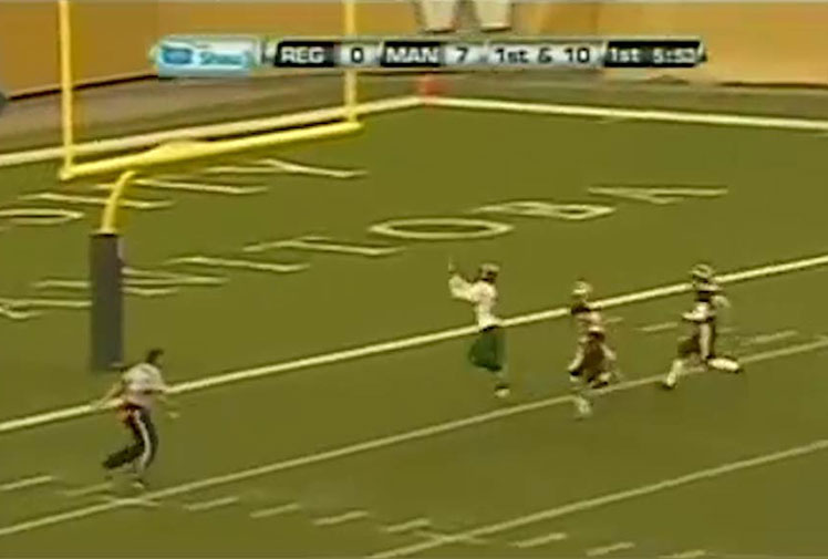 <b> A College gridiron player in Canada has been involved in a horrible collision, but not with an opposition player - with the goalpost. </b><br/><br/>Mitch Thompson was in action for the Regina University Rams when his quarterback launched a long Hail Mary pass. <br/><br/>Footage shows the receiver lose his bearings as he unsuccessfully tries to reel in the pass, smashing into the single goalpost at the start of the endzone as a result. <br/><br/>Thompson's misfortune reminded us of these other sickening post-on-player collisions.<br/><br/><br/><br/><br/><br/>