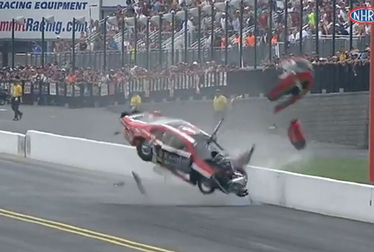 <b>US race driver Vieri Gaines had a miraculous escape after his Stock car crashed and flipped spectacularly at high speed during a dragway event in Carolina.</b><br/><br/>Competing in the recent Pep Boys NHRA Carolina Nationals, Colorado driver Gaines was left all shook up when he lost control of his Dodge Dart and slammed into a wall at zMAX Dragway with the impact and resultant flips leaving the car a stripped wreck.<br/><br/>Click through to see how Gaines' crash compares with our gallery of drag racing accidents.