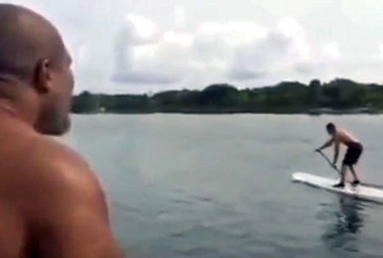 <b>Shannon Briggs knows no boundaries when it comes to his verbal vendetta against heavyweight champion Wladimir Klitschko.</b><br/><br/>True to his word to 'go wherever' Klitschko goes, Briggs has taken to the high seas to taunt the Ukrainian as he enjoys a paddle board ride.<br/><br/>Onboard a circling boat, the US boxer continually abuses Klitschko before the wake finally knocks the champ into the water.    <br/><br/>This incident is the latest in a long line of bizarre Briggs' attempts to annoy Klitschko into a title showdown.