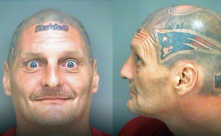 <b>A devout New England Patriots and Tom Brady fan has tattooed the quarterback's helmet to his head.</b><br/><br/>Victor Thompson's devotion to the three-time Super Bowl champions was revealed when he was arrested for possession of narcotics in Florida.<br/><br/>The mug shots show an amazing level of attention to detail with the artwork featuring logos, signatures and even the brand of the helmet, Riddell.<br/><br/>However, Thompson is not the only fanatical fan to visit the tattooist with their club's crest and colours ...<br/>