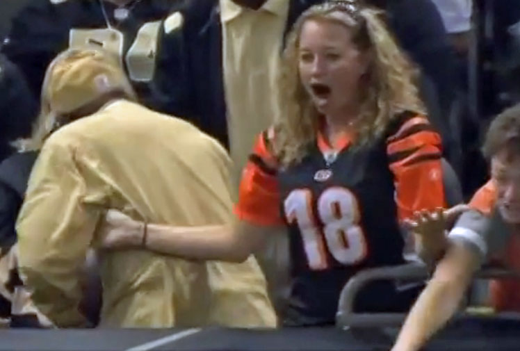 <b>An NFL fan in America is being lashed on social media after stealing a football that was meant for someone else.</b><br/><br/>A female Cincinatti supporter had just witnessed her Bengals score a touchdown against New Orleans and couldn't believe her luck when the scorer, Jermaine Gresham, noticed her in the crowd, ran to the stands and threw her the ball. At least, he tried to throw her the ball.<br/><br/>Witnesses were left in utter disbelief when a Saints fan pounced at the last minute and effectively tore the ball from her hands and refused to give it back. He isn't the first heartless supporter sport has seen, but he certainly ranks among the worst.<br/><br/>